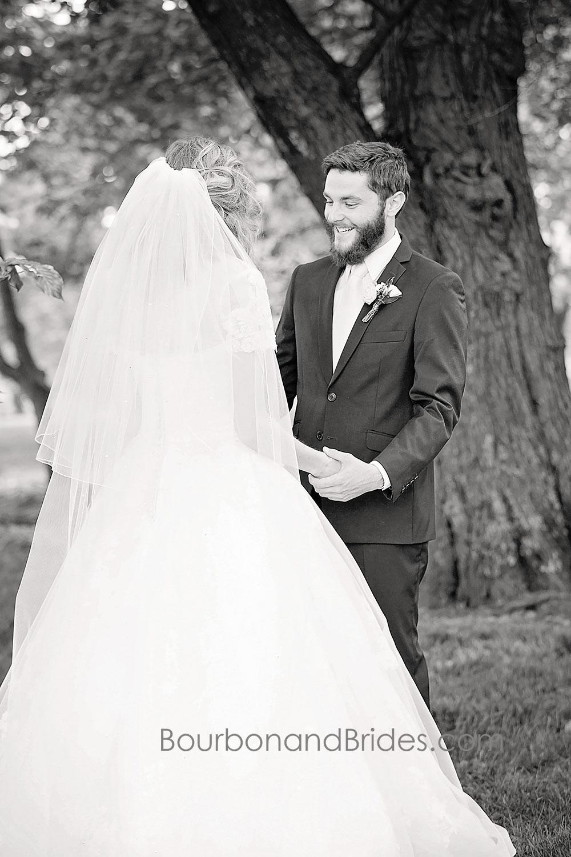 Groom Seeing Bride   Walnut Hill Church   Kentucky Wedding Photographer   Bourbon & Brides Kentucky Wedding Photography