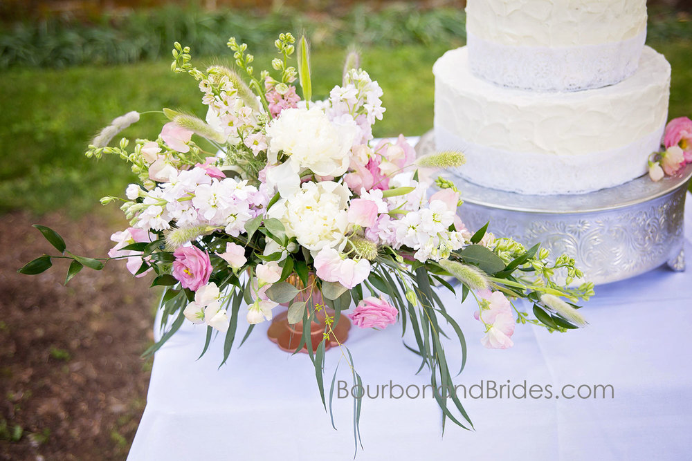 Flowers and Cake    Walnut Hill Church   Kentucky Wedding Photographer   Bourbon & Brides Kentucky Wedding Photography