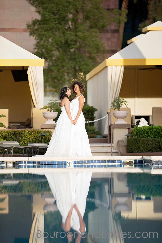 Gay Wedding by Pool   Lesbian couple LGBT Wedding Gay Wedding   Las Vegas MGM Grand Wedding   Kentucky Wedding Photographer   Bourbon & Brides Kentucky Wedding Photography