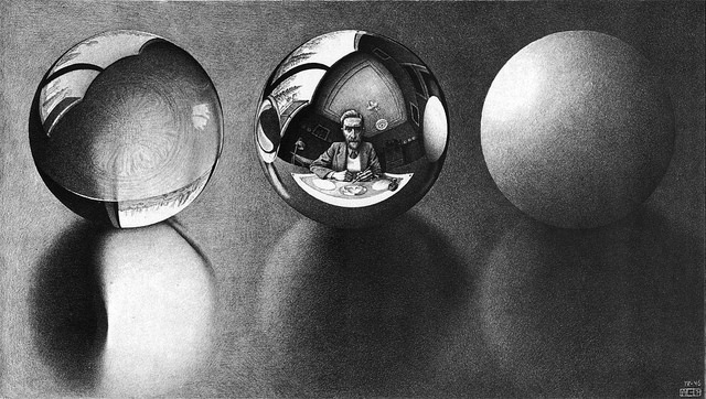 """Three Spheres II"" by M.C. Escher. Used on the grounds of fair use."