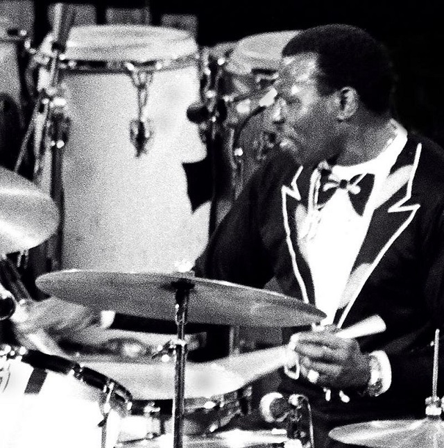 Elvin Jones. C.C. Image: Tom Marcello on Wikimedia Commons.