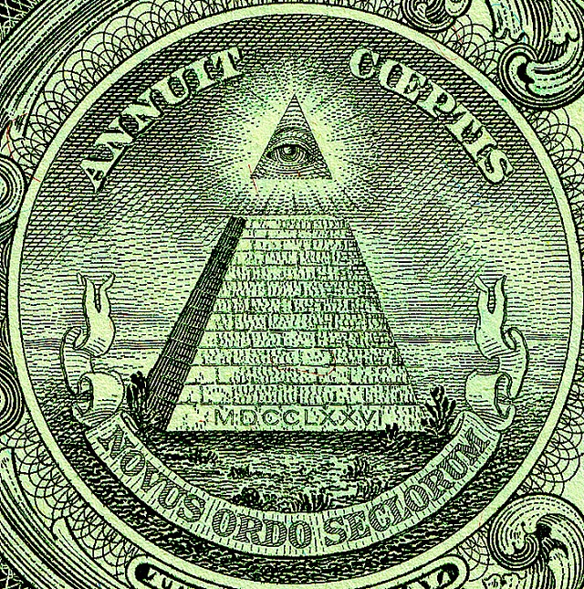 Pyramid with the all-seeing eye on the back side of the US 1-Dollar bill. Public domain image: Wikimedia Commons.