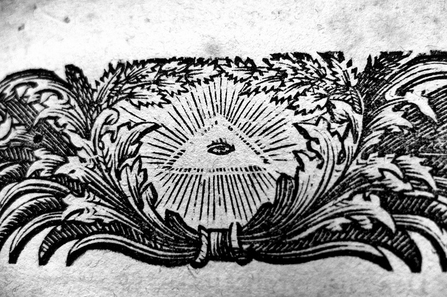 The all-seeing eye in a book from 1743. C.C. Image: Acid Pix on Flickr.