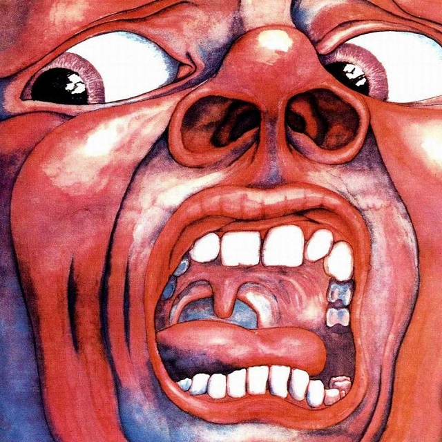 King Crimson's In the Court of the Crimson King (1969) cover, used on the grounds of fair use.