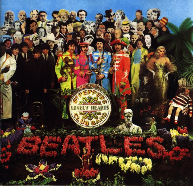 The Beatles' Sgt. Pepper's Lonely Hearts Club Band (1967) cover, used on the grounds of fair use.