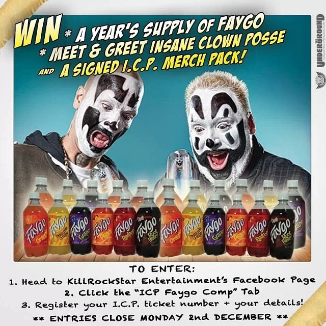 Win a YEAR's supply of #Faygo, MEET & GREET #insaneclownposse, and get a signed #ICP #merch pack, all part of their upcoming #Australian #tour!  Enter HERE: http://shm.im/bqvdr2  You must have a valid ICP #OzTour #ticket to enter. Buy your tickets via here: https://bitly.com/icpOzTix  Entries close Monday 2nd Dec. #whoopwhoop  #bighoodoo #boondox
