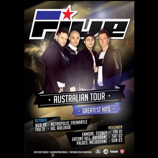 #90s #pop fans rejoice! #5ive #five Australian #oztour announced! Presale & meet and greet sales begin on Weds 28/08. Go to www.krbde.com to register for presale!