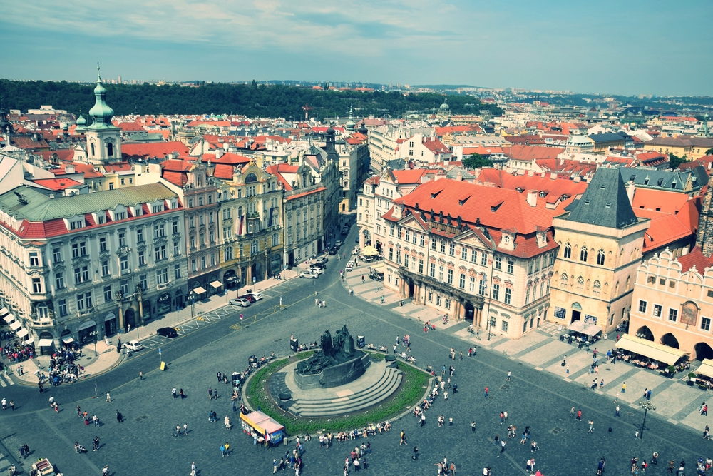 Old town square in Prague. THe view is From the top of the astronomical clock tower.