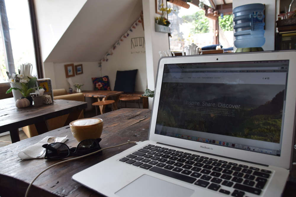 Working remotely at a cafe in canggu, bali