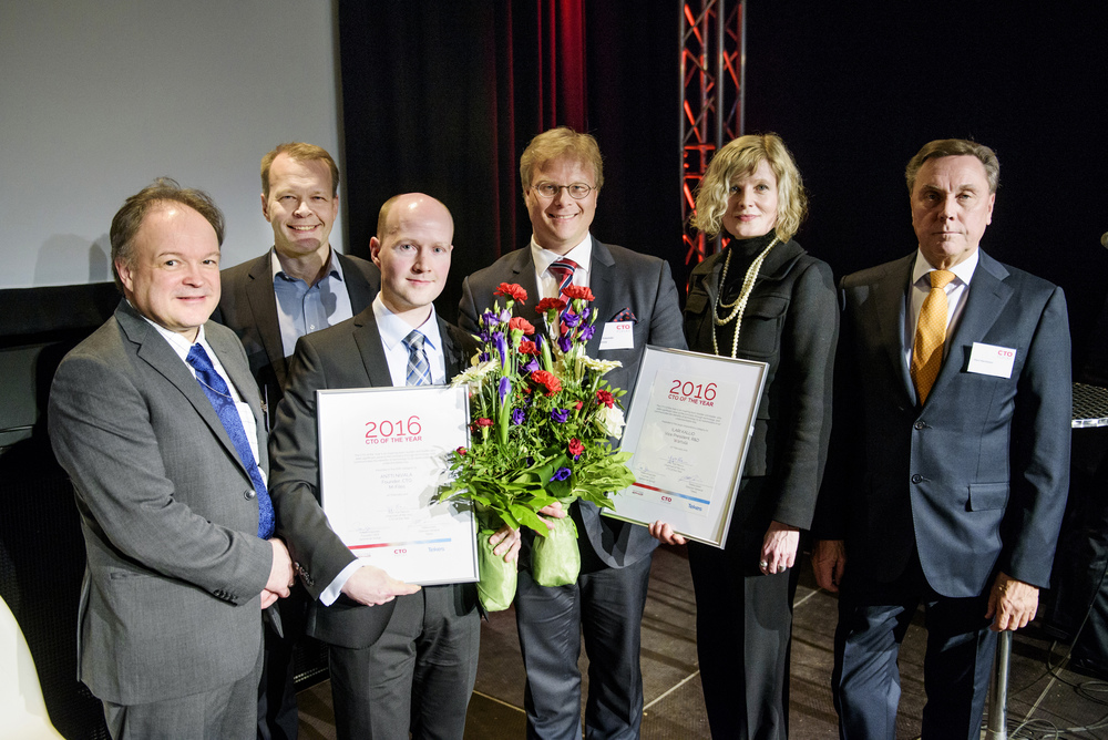 CTOs of the Year with jury and organiser representatives: Reijo Kangas, Tekes; Pekka Koponen, Spinverse; Antti Nivala, M-Files; Atte Palomäki on behalf of Ilari Kallio, Wärtsilä; Tarja Pääkkönen, member of the jury; Harri Kerminen, member of the jury