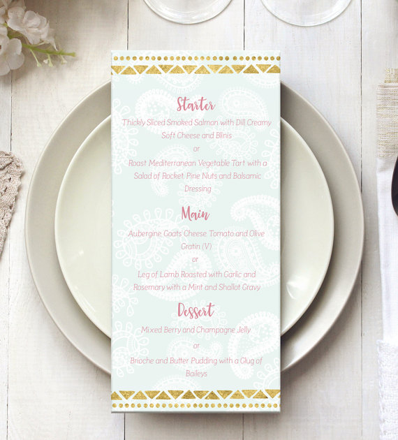 Custom menu for weddings & events, printable by 29&September