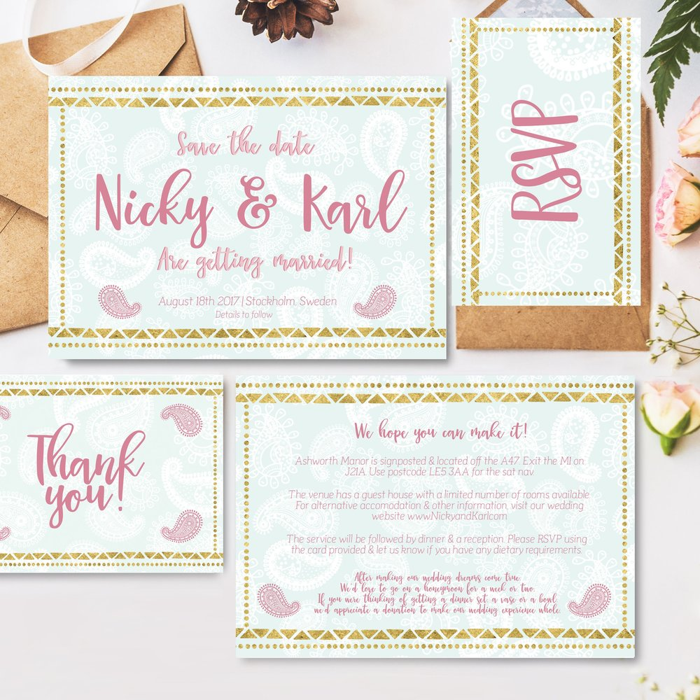 Nomadic Wedding stationary suite, 29&Setpember