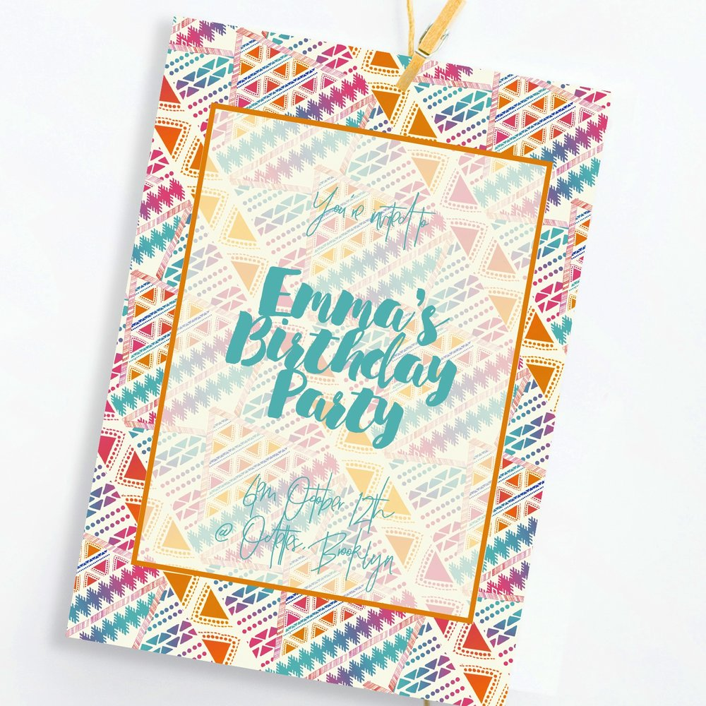 Tribal birthday invite, 29&September