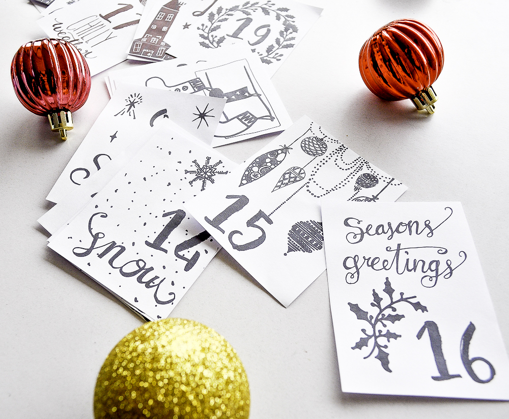 Printable advent calendar by 29andSeptember