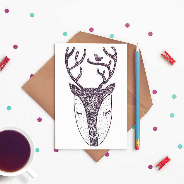 Romantic fawn postcard by JaCieBrosze