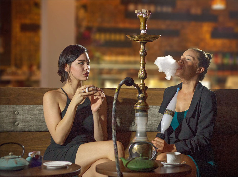 Ladies Smoke Hookah