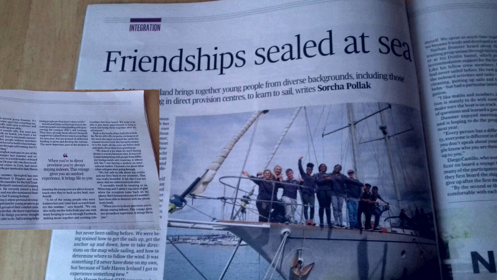 """Friendships sealed at sea"", The Irish Times, November 2016. Full article available at http://www.irishtimes.com/life-and-style/people/friendships-sealed-at-sea-1.2845839     TELEVISION (UTV News, July 2015)"