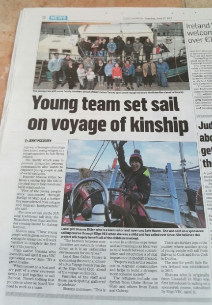 Young Team set Sail on voyage of Kinship (Sligo Champion, 27 June 2017)