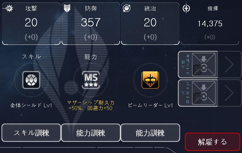 """※ユニーク英雄""""チアキ""""のLV75基準の能力値です。  ※ビームリーダーLVv1:味方ビーム艦隊の攻撃力+2%、ビーム正確度+5、ビーム抵抗+1、ビーム回避+5"""