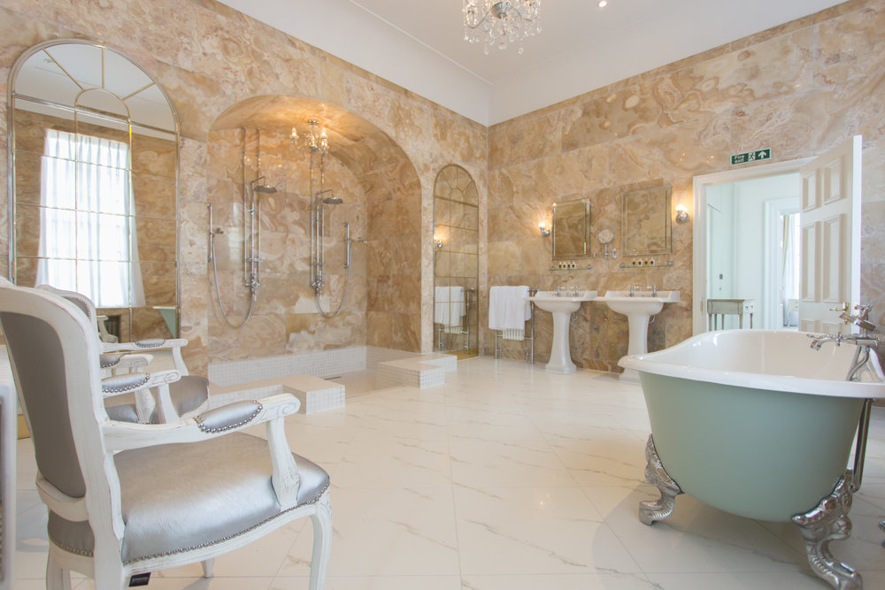 Hedsor House's Incredible Bridal Suite is 2500sq ft and features an Onyx Marble Bathroom. Photo Credit  John Nassari