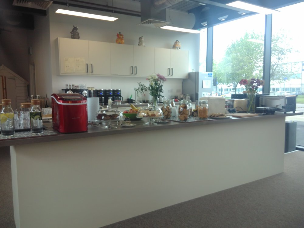 The kitchen area at the Media City branch