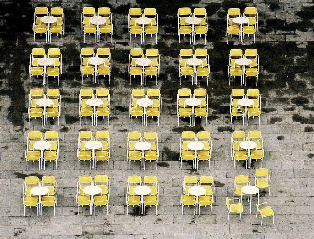 pattern of chairs, venice, st marks, breaking the pattern