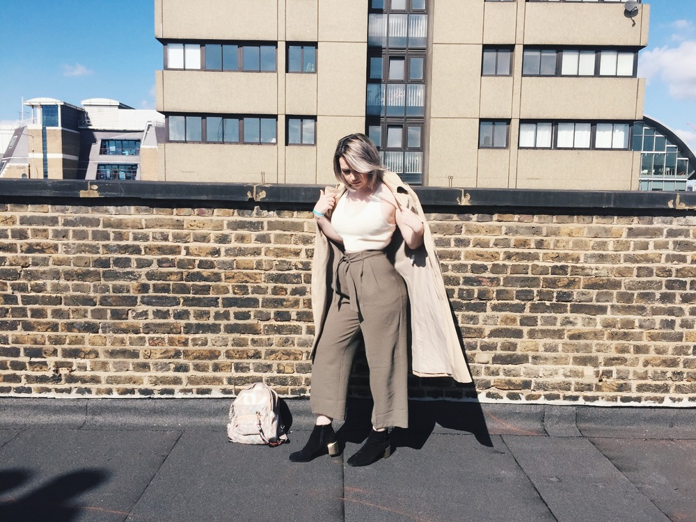 Top: Whistles / Trousers: ASOS / Boots: Senso / Coat: APC / Backpack: Chanel