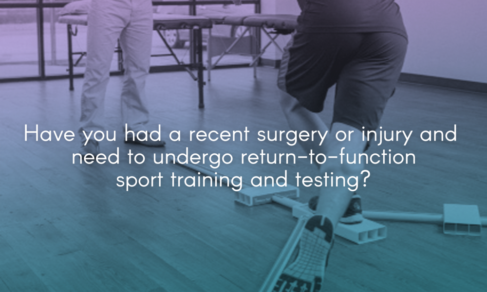 Have you had a recent surgery or injury and need to undergo return-to-function/sport training and testing?