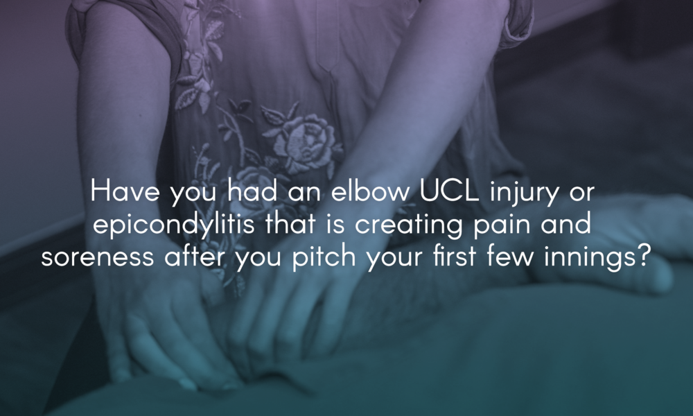 Have you had an elbow UCL injury or epicondylitis that is creating pain and soreness after you pitch your first few innings?