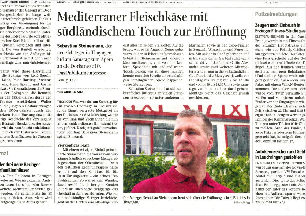 Zeitungsbericht Eröffnung Metzgerei Steinemann Thayngen