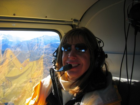 Joanne enjoying a helicopter ride