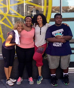 from left: Veronica Everett-Boyce and Ronne with friends from Soul Cycle.