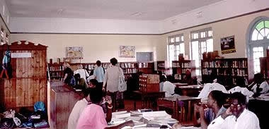The Jinja Library, bustling with books and visitors in 1992