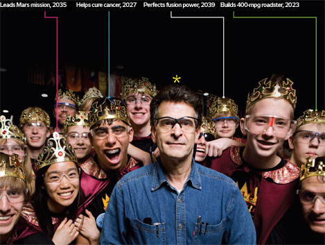 Dean Kamen with FIRST participants  (photo credit: Ben Baker)