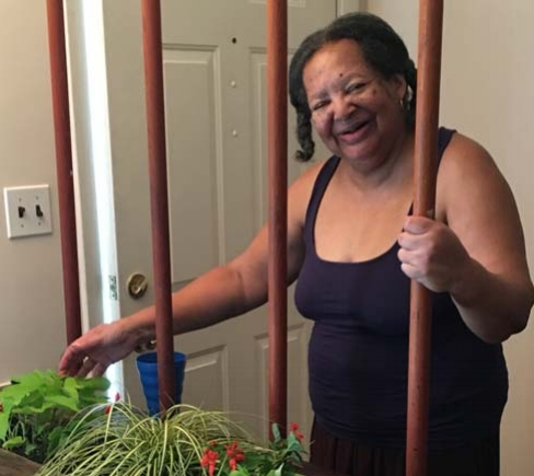 Yvonne with her home garden