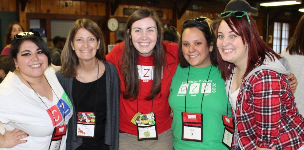 Katie Lalama (far left) volunteering with Comfort Zone Camp