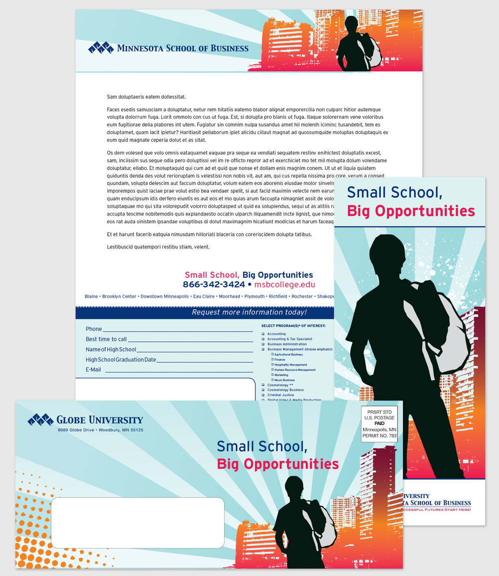 Direct Mail & Collateral: Globe University, High School