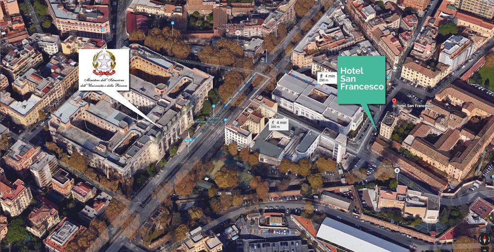 Hotel San Francesco a soli 350 metri dal Ministero Istruzione Università e Ricerca