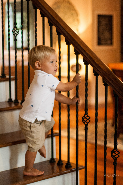 boy climbing stairs
