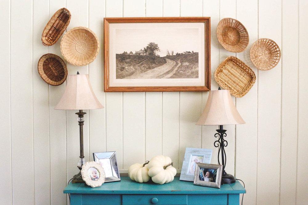 Farmhouse Basket Wall Decor Laurie Schultz Photography Savannah