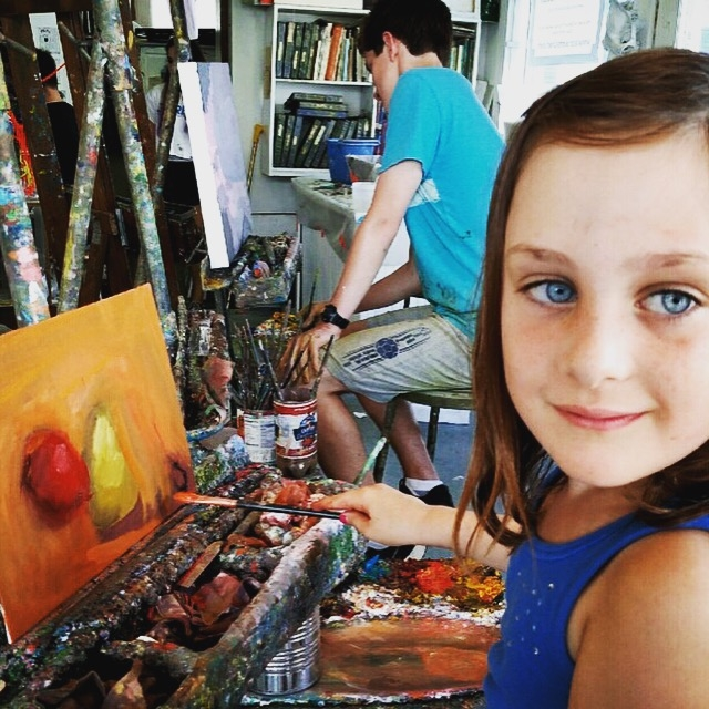 Painting with Nonna, summer 2015, Marblehead.