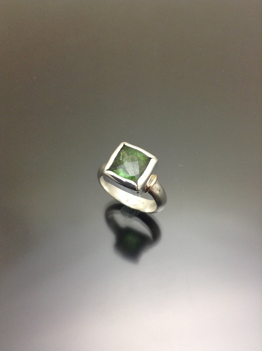 Green tourmaline ring silver and gold.JPG