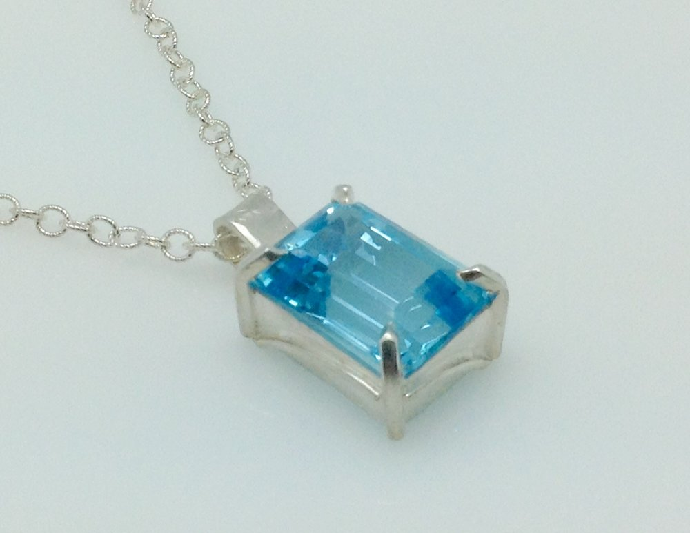 Blue topaz emerald cut pendant sterling silver necklace.jpg