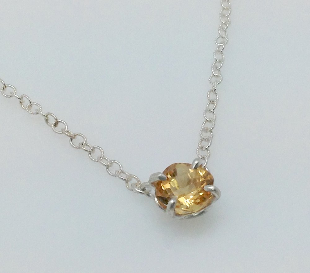 Petal stationed solitaire citrine sterling necklace.jpg
