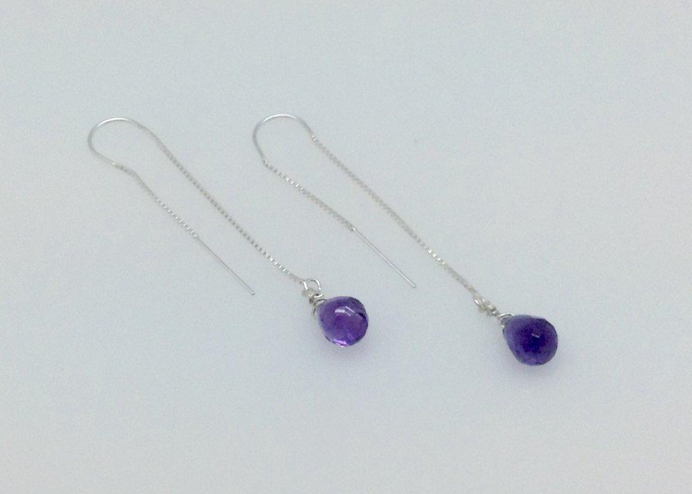 Everyday elegant threader amethyst sterling earrings.jpg