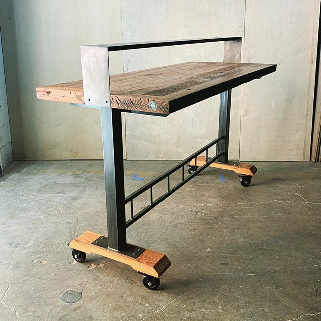 Enough room for pizza AND beer 🍻 These #heartpine communal tables feature an elevated steel shelf to add serving space. More space = more grub...we're into that. . . . . . #woodworking #reclaimedwood #ilovewoodworking #custommade #furniture #customfurniture #anythingwoodandmetal #handmade #baltimore #sustainablymade #baltimorebuilt #maker