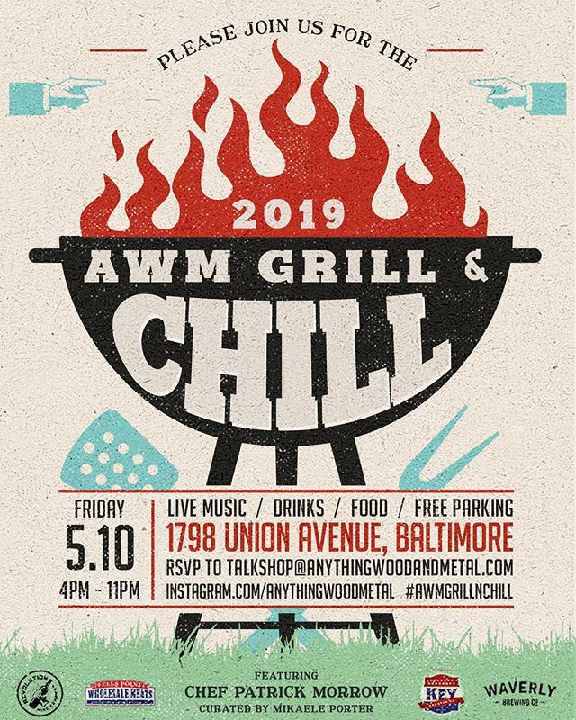 Join us for our 3rd annual #AWMGrillNChill on 05.10.19! Live music, local bevs, small goods for purchase, and @chef_morrow on the #grillzilla 👌🏼👌🏼 RSVP today to claim a spot!!