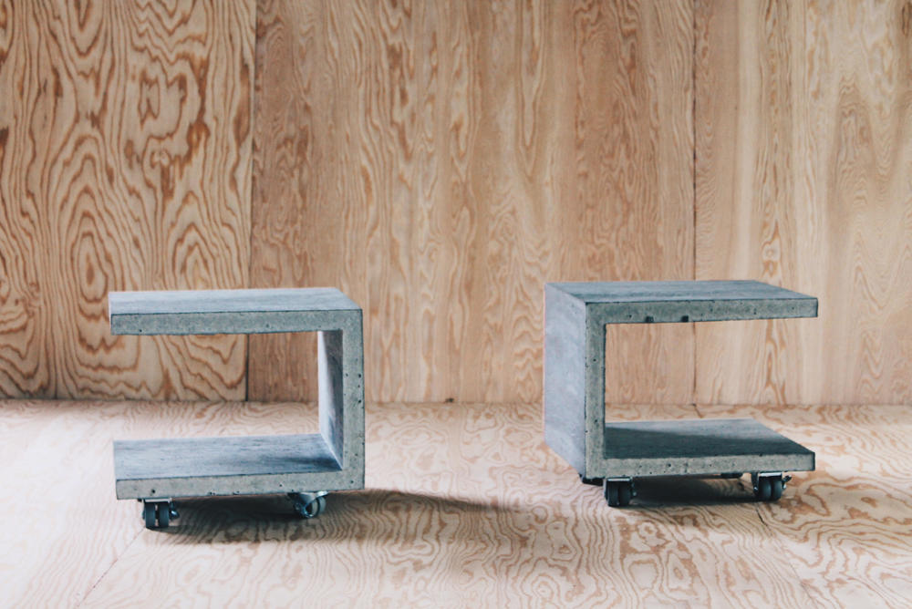 the david byrne [19x17x16 ind. dimensions]  split C coffee / sides on casters. raw, punked plywood profile  [spoken for]