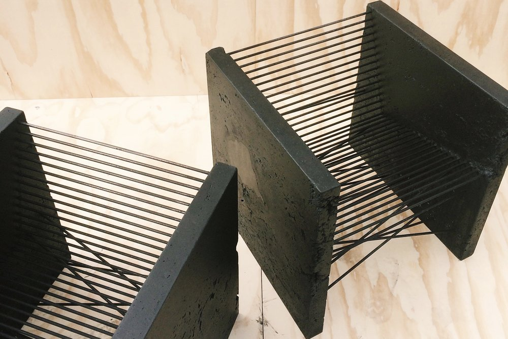 brute modern club chairs [26x26x26]  black acid / black pigment stained | steel in both order and chaos