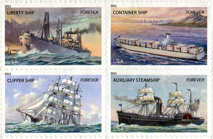 Merchant Marine stamps, block of four, U.S. Postal Service, oil on board